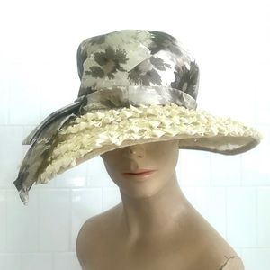 Vintage 1950's brown floral straw wide brim hat